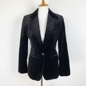 J Crew Size 4 School Boy Blazer Velvet Black One